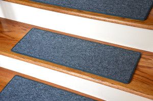 "Carpet Stair Treads 23"" x 8"" - Aquamarine - Set of 13 - Double-Sided Tape Included"