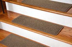 "Dean Serged DIY Carpet Stair Treads (13) - Rich Earth Plush 27"" X 9"" with Double-Sided Tape Included"