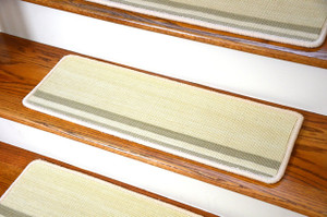 "Dean Premium New Zealand Wool Non-Slip Carpet Stair Treads/Runner Rugs - Inspirations Ivory 27"" x 9"" (Set of 15)"