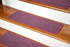 """Dean Serged DIY Carpet Stair Treads 27"""" x 9"""" - Rose Petal - Set of 13"""