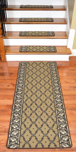 Dean Washable Non-Skid Carpet Stair Treads - Trellis Beige (13) Plus a Matching 5' Landing Runner