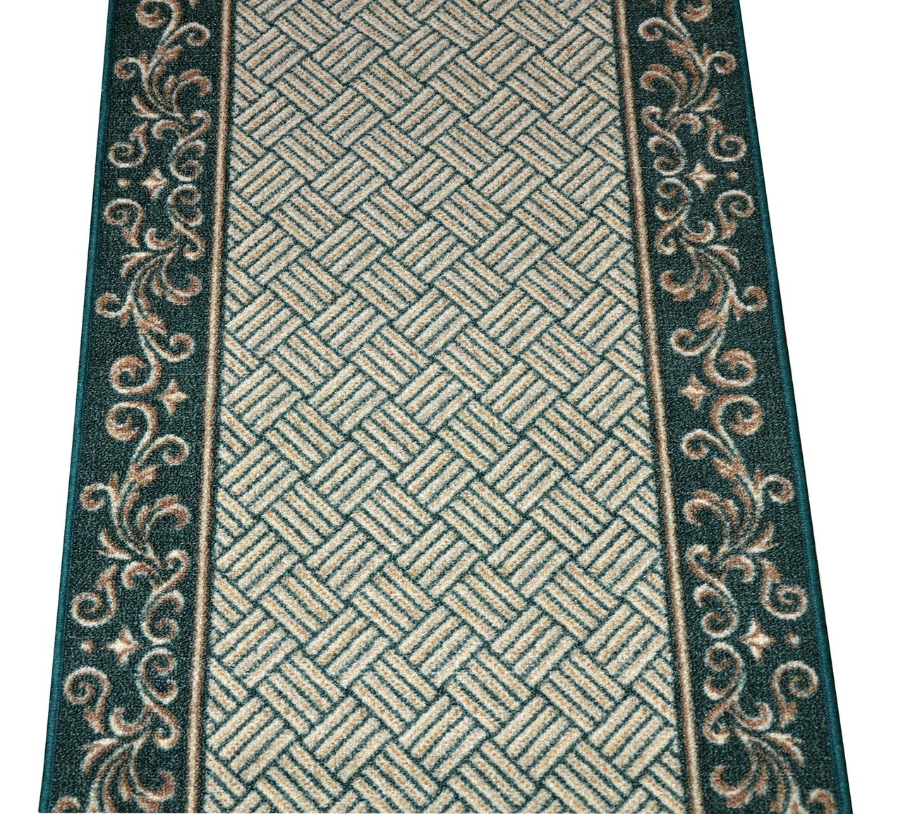 Dean Hunter Green Scroll Border Washable Non Skid Carpet