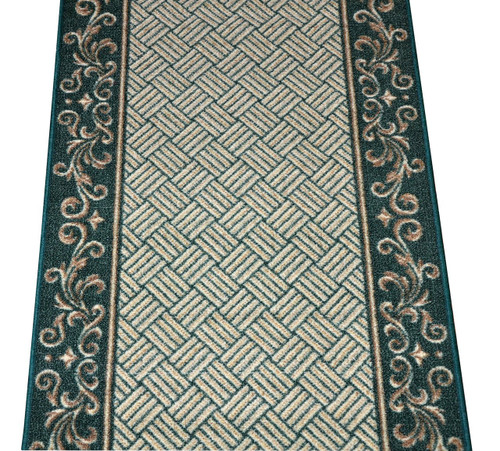 Dean Hunter Green Scroll Border Washable Non Skid Carpet Rug Runner    Purchase In Custom Lengths By The Linear Foot