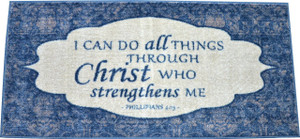 "Dean Washable Non-Skid ""Philippians 4:13"" Christian Faith Bible Based Carpet Runner Mat/Rug 20"" x 44"" Color: Blue"