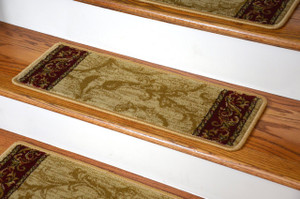 Dean Premium Carpet Stair Treads - Tan Scrollworks 13 Pack