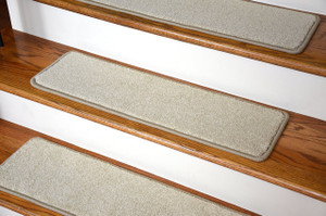 "Dean Premium Nylon Non-Slip DIY Carpet Stair Step Rug Treads - Yacht Club Beige 27"" x 9"" (Set of 15)"