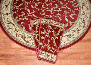 "Dean Premium Carpet Stair Treads - Red Scrollworks Plus a Matching 5' Runner and 5'3"" Round Rug"