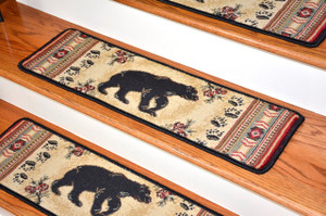 "Dean Premium Carpet Stair Tread Rugs - Black and Red Bear Cabin Lodge 31"" W"