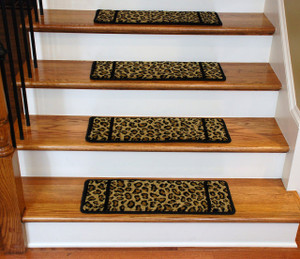 Premium Carpet Stair Treads - Cheetah - 13 Pack