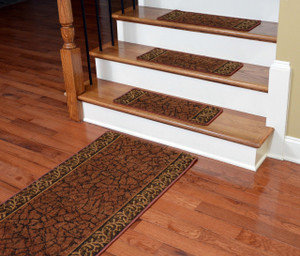 Dean Washable Non-Skid Carpet Stair Treads - Garden Path Terra Cotta (13) PLUS a Matching 5' Runner