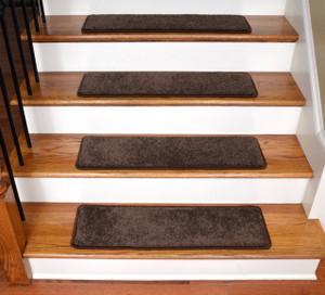 "Dean Ultra Premium Stair Gripper Non-Slip Tape Free Pet Friendly DIY Satin Soft Nylon Carpet Stair Treads/Rugs 30"" x 9"" (15) - Color: Chocolate Brown"