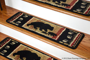 "Dean Premium Carpet Stair Treads - Black Bear Cabin 31"" x 9"" (Set of 13)"