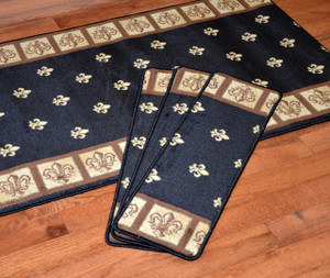 "Dean Premium Carpet Stair Treads - Fleur-De-Lys Black 31"" x 9"" (Set of 13) Plus a 5' Runner"