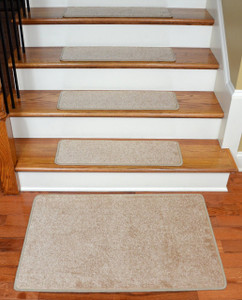 """Dean Serged DIY 27"""" x 9"""" Imperial Carpet Stair Treads (13) with Landing Mat - Color: Tan/Gold"""