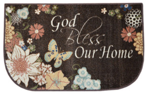 "Dean Washable Non-Skid ""God Bless Our Home"" Brown & Beige Christian Faith Bible Based Carpet Runner Mat/Rug 20"" x 32"""