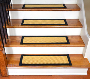 "Dean Non-Slip Tape Free Pet Friendly Stair Gripper Natural Fiber Sisal Carpet Stair Treads - Madagascar Basketweave Tropical Gold/Black 29""W (15)"