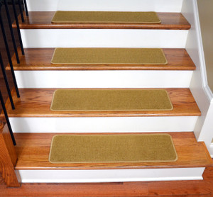 "Dean Ultra Premium Soft Nylon Stair Gripper Non-Slip Tape Free Pet Friendly DIY Carpet Stair Treads/Rugs 30"" x 9"" (15) - Color: Butterscotch Gold"