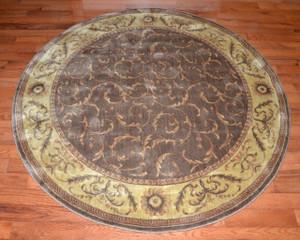 """5' 6"""" Round Area Rug - Khaki Scrollwork"""