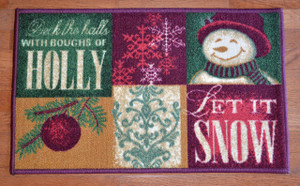 "Dean ""Let It Snow"" Christmas Mat 18""x30"" with Non-Skid Rubber Back"