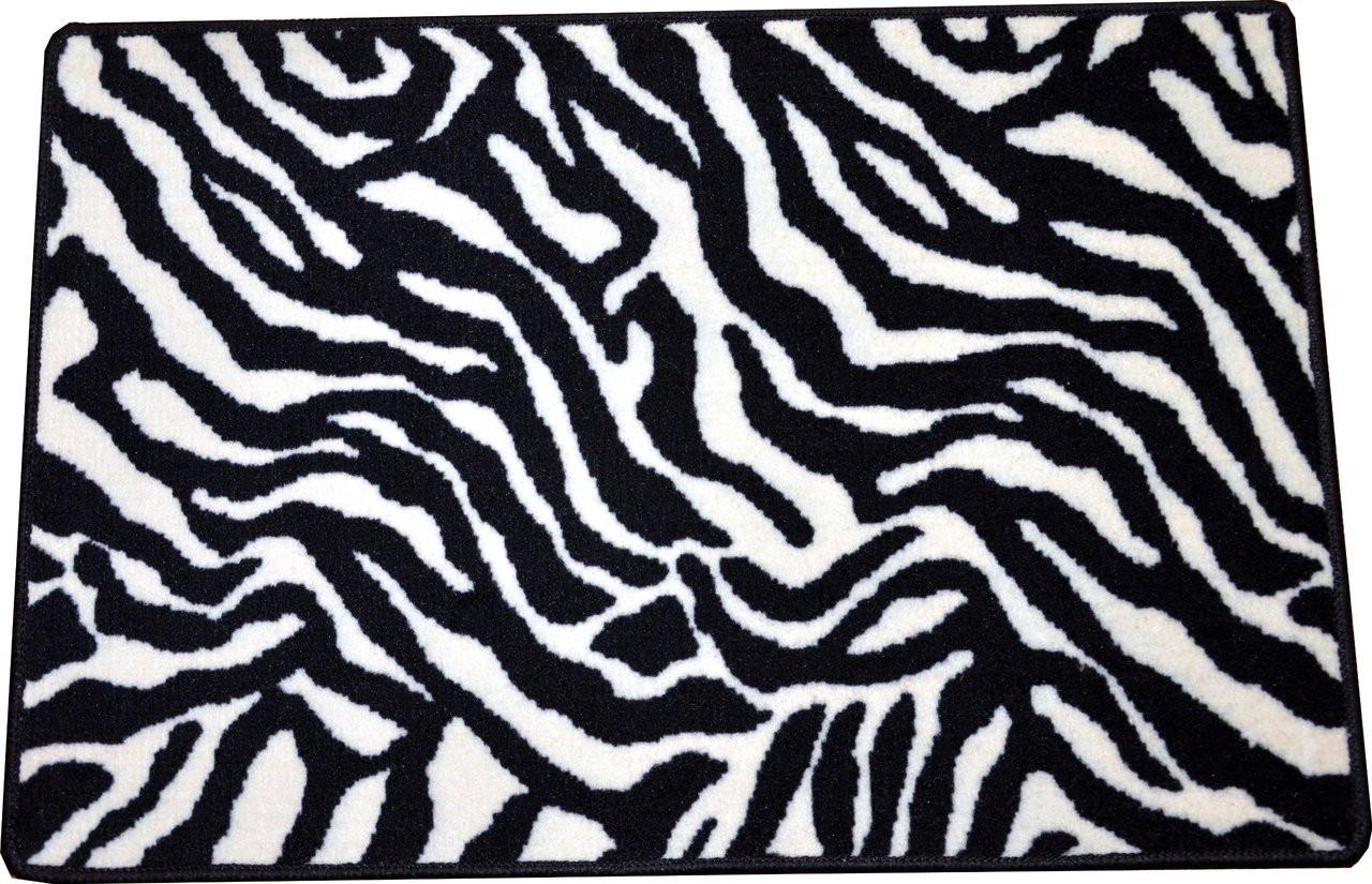 Dean zebra animal print 2 39 x 3 39 carpet mat accent rug for Zebra print flooring