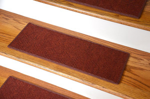 "Dean Indoor/Outdoor Pet Friendly Tape Free Non-Slip Carpet Stair Step Treads - Contour Terra Cotta Spice 23"" x 8"" (15)"