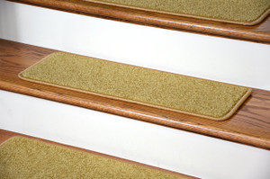 """Dean Serged DIY Carpet Stair Treads (13) - Camel Plush 27"""" X 9"""" with Double-Sided Tape Included"""