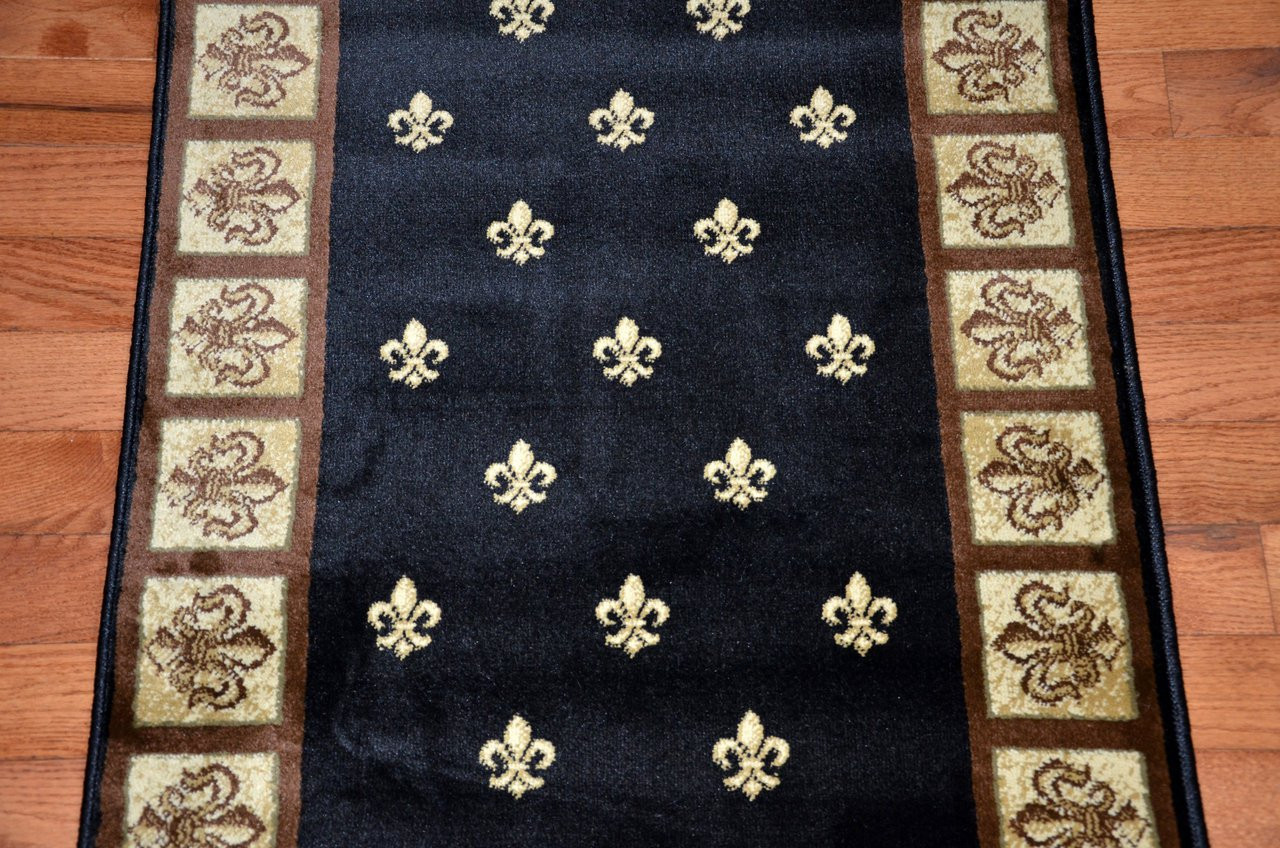 Black Fleur De Lys Carpet Runner Rug 31 Quot Wide