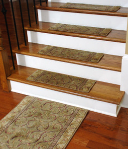 Premium Carpet Stair Treads - Meadow Scrollwork (13) PLUS a Matching 5' Runner