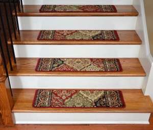 "Dean Premium Carpet Stair Treads - Panel Kerman Claret 31""W Set of 13"