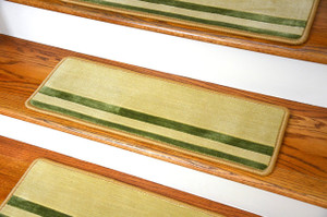"Dean Premium New Zealand Wool Non-Slip Carpet Stair Treads/Runner Rugs - Deco Bloc Ivory/Green 27"" x 9"" (Set of 15)"