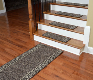Dean Washable Non-Skid Carpet Stair Treads - Garden Path Brown (13) PLUS a Matching 5' Runner
