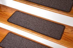 Washable Non-Skid Carpet Stair Treads - Cobbler Brown (15)