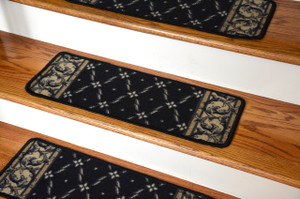 Washable Carpet Stair Treads - Trellis Black