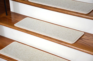 """Dean Serged DIY Carpet Stair Treads (13) - Buff Ivory/Beige Plush 27"""" X 9"""" with Double-Sided Tape Included"""