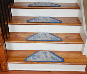 Washable Non-Skid Carpet Stair Treads - Blue/Grey Fruit (13)