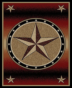 "Dean Amarillo Rust Lodge Cabin Ranch Western Star Area Rug 5'3"" x 7'3"""