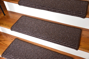 "Dean Modern DIY Peel and Stick Bullnose Wraparound Non-Skid Carpet Stair Treads - Cobbler Brown 30""W (15)"