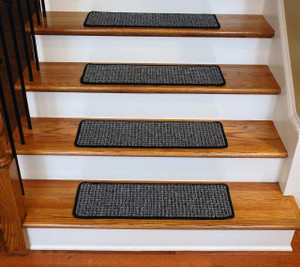 Washable Non-Skid Carpet Stair Treads - Silvered Sky (13)