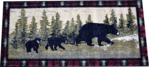 "Washable Non-Slip ""Following Mama"" Cabin Bear Kitchen Door Entrance Mat/Rug 20"" x 44"""