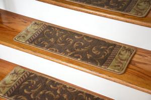 Dean Premium Carpet Stair Treads - Khaki Scrollworks