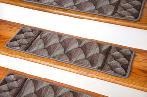 "Dean Premium New Zealand Wool Carpet Stair Treads - Shadowscape Woodlands (Set of 15) 30"" x 9"""