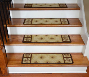 "Dean Premium Carpet Stair Treads - Beige Fleur-De-Lys 31"" x 9"" (Set of 13)"