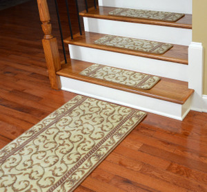 Dean Premium Carpet Stair Treads - Vanilla Scrollwork PLUS a Matching 5' Runner