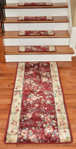 Premium Carpet Stair Treads - Chelsea Garden Red (13) PLUS a Matching 5' Runner