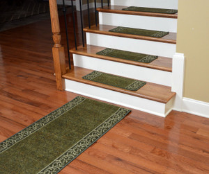 Dean Washable Non-Skid Carpet Stair Treads - Garden Path Green (13) PLUS a Matching 5' Runner