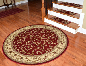 "Dean Premium Carpet Stair Treads - Red Scrollworks - Plus 5' 3"" Round Landing Rug"
