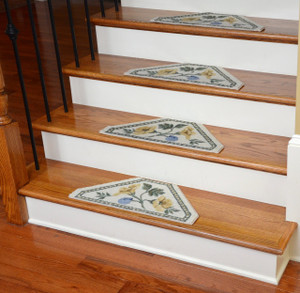 Washable Non-Skid Carpet Stair Treads - Yellow Rose (13)