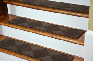 "Dean Premium Serged Carpet Stair Treads - Diamond Brown 35"" x 9"" (Set of 13)"