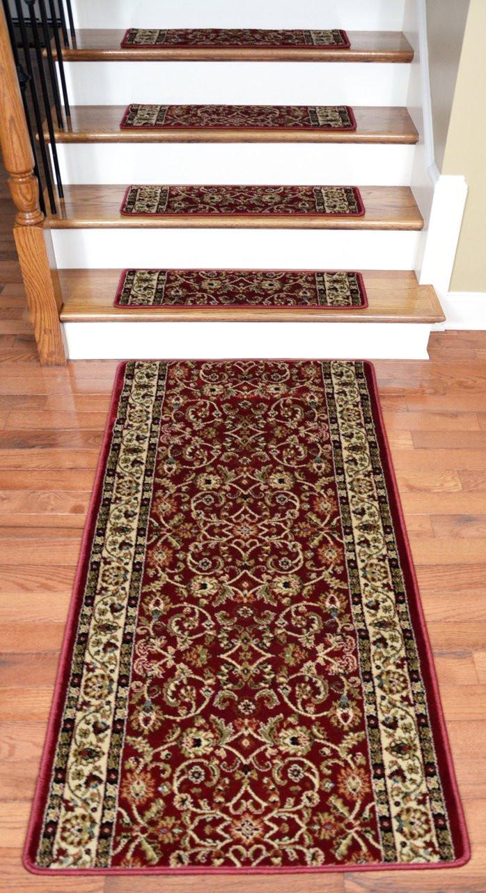 Dean Premium Carpet Stair Treads Classic Keshan Claret