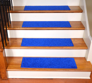 "Dean Ultra Premium Stair Gripper Non-Slip Tape Free Pet Friendly DIY Carpet Stair Treads/Rugs 30"" x 9"" (15) - Color: Electric Blue Plush"
